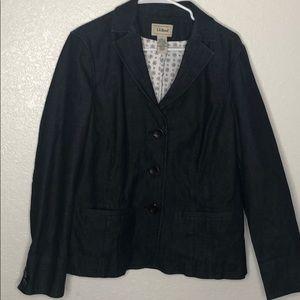 LL Bean Denim Blazer Jacket 12